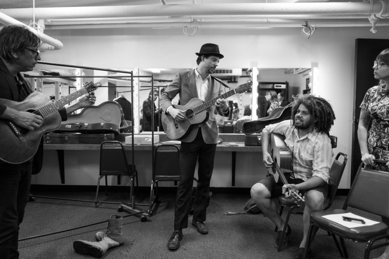(left to right) Roland Delacruz, DT Buffkin, Edwin Stephens, and Melanie Robinson warm up in a dressing room before the performance. Photo by Scott Ball.