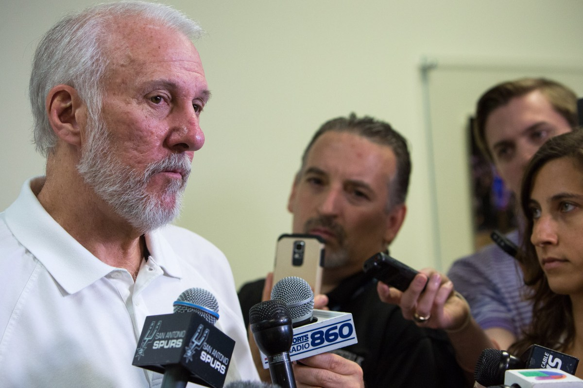 San Antonio Spurs Coach Gregg Popovic gives a post season interview with media at the Spurs Practice Facility in the San Antonio Medical Center. Photo by Scott Ball.