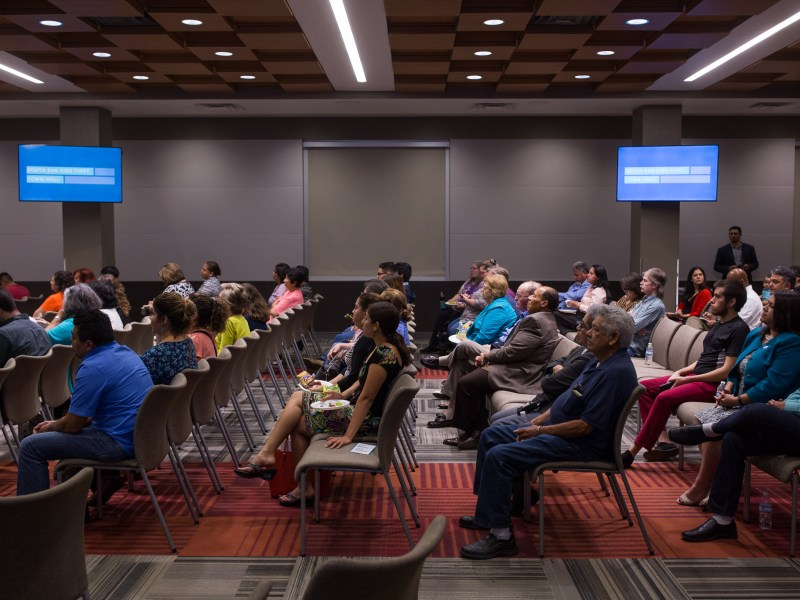 Community members fill a meeting space at the Palo Alto College library. Photo by Scott Ball.