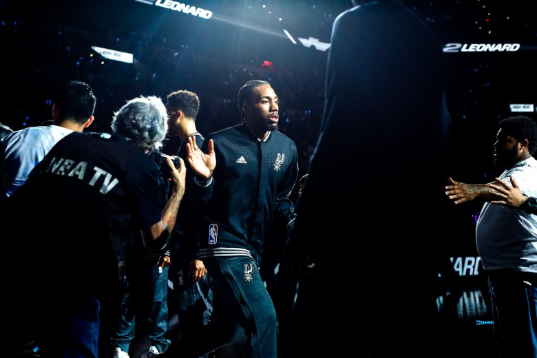 Spurs Forward #2 Kawhi Leonard is introduced before the game begins. Photo by Scott Ball.