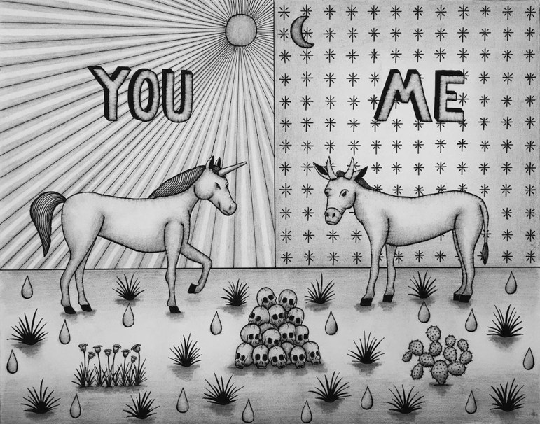 You and Me (2016), pencil and ink on paper by Jose Fidel Sotelo.