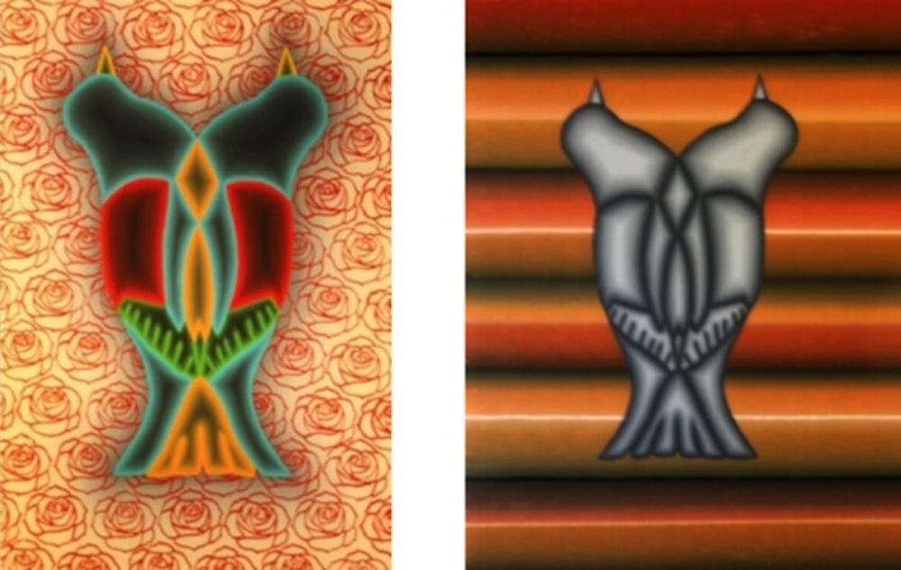 Amorave Series, 2011, acrylic on Plexiglas Sarape Spearo, 2011, acrylic on glass by Jose Fidel Sotelo.