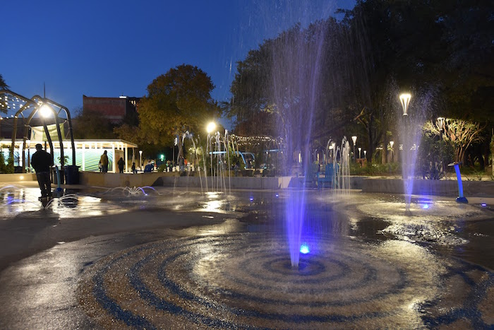 Exemplary implementation of LED Lights at Yanaguana Garden at Hemisfair. Photo by Robert C. Trevino.