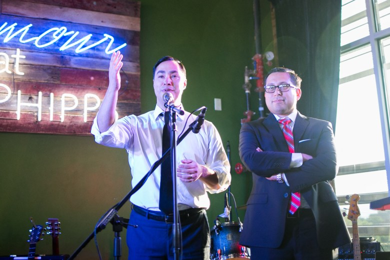 From left: U.S. Rep. Joaquín Castro (D-Texas) and state Rep. Diego Bernal (D-123) praise the work of the volunteer staff of San Antonio Sound Garden. Photo by Kathryn Boyd-Batstone.