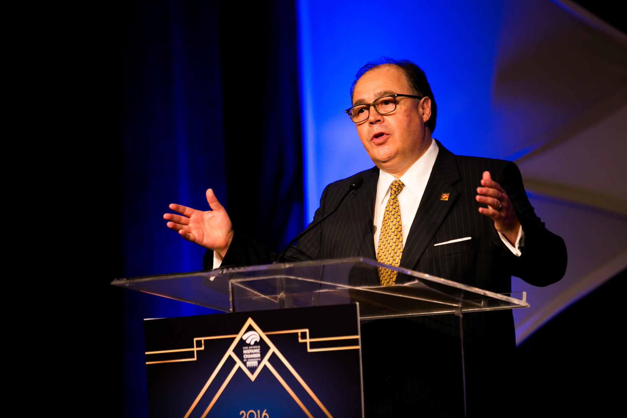 Hispanic Chamber of Commerce President and CEO Ramiro Cavazos welcomes attendees. Photo by Kathryn Boyd-Batstone.