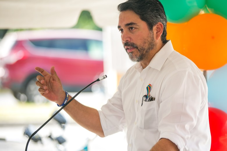 Councilman Roberto Treviño (D1) speaks about the $1.2 million City of San Antonio investment spent on expanding the Howard W. Peak Greenway Trails System. Photo by Kathryn Boyd-Batstone.