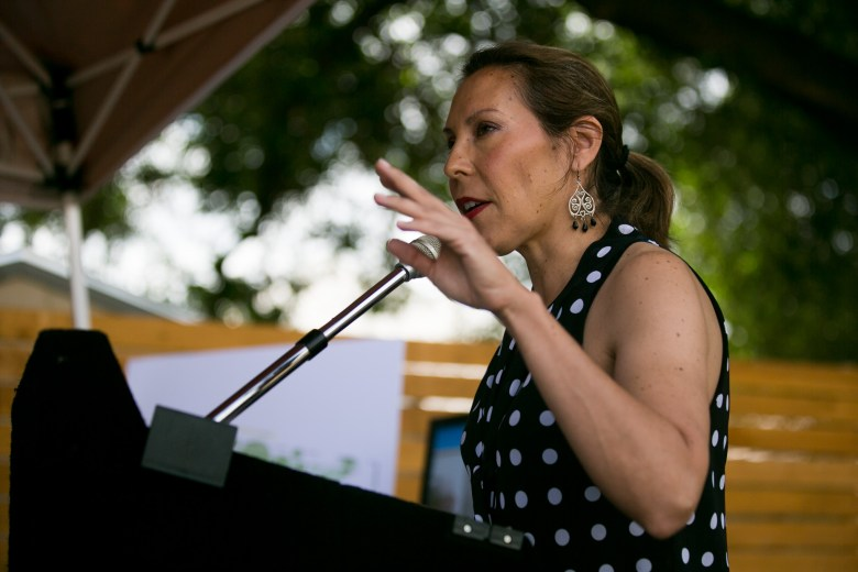Councilwoman Shirley Gonzales (D5) speaks about the growing new development in the area. Photo by Kathryn Boyd-Batstone. Photo by Kathryn Boyd-Batstone.