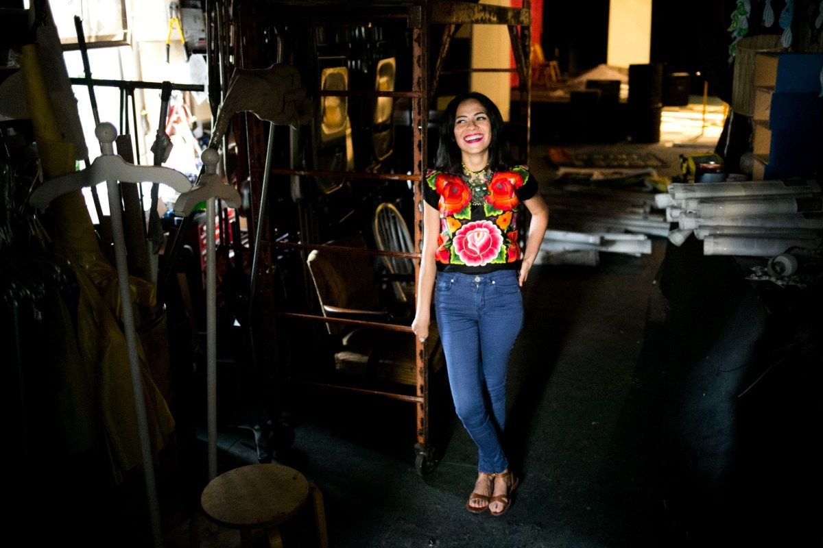 Azul Barrientos is the Esperanza Peace & Justice Center's artist-in-residence. Photo by Kathryn Boyd-Batstone.
