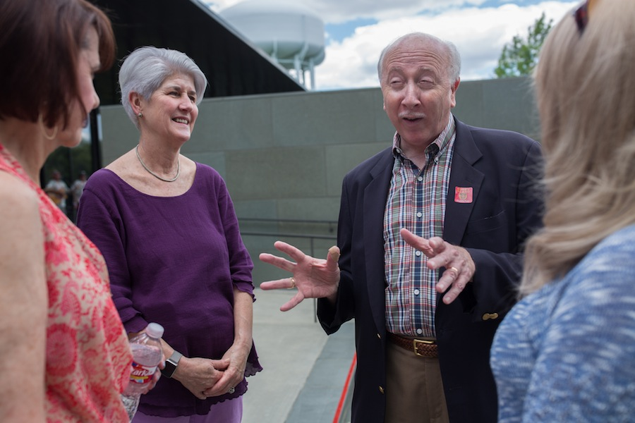 Director William J. Chiego speaks with guests at The McNay Art Museum. Photo by Michael Cirlos.