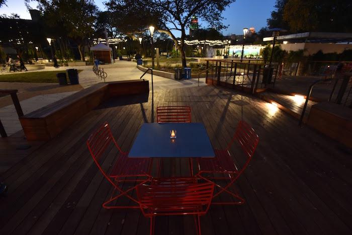 Soft, ambient lighting at Yanaguana Garden at Hemisfair. Photo by Robert C. Trevino.