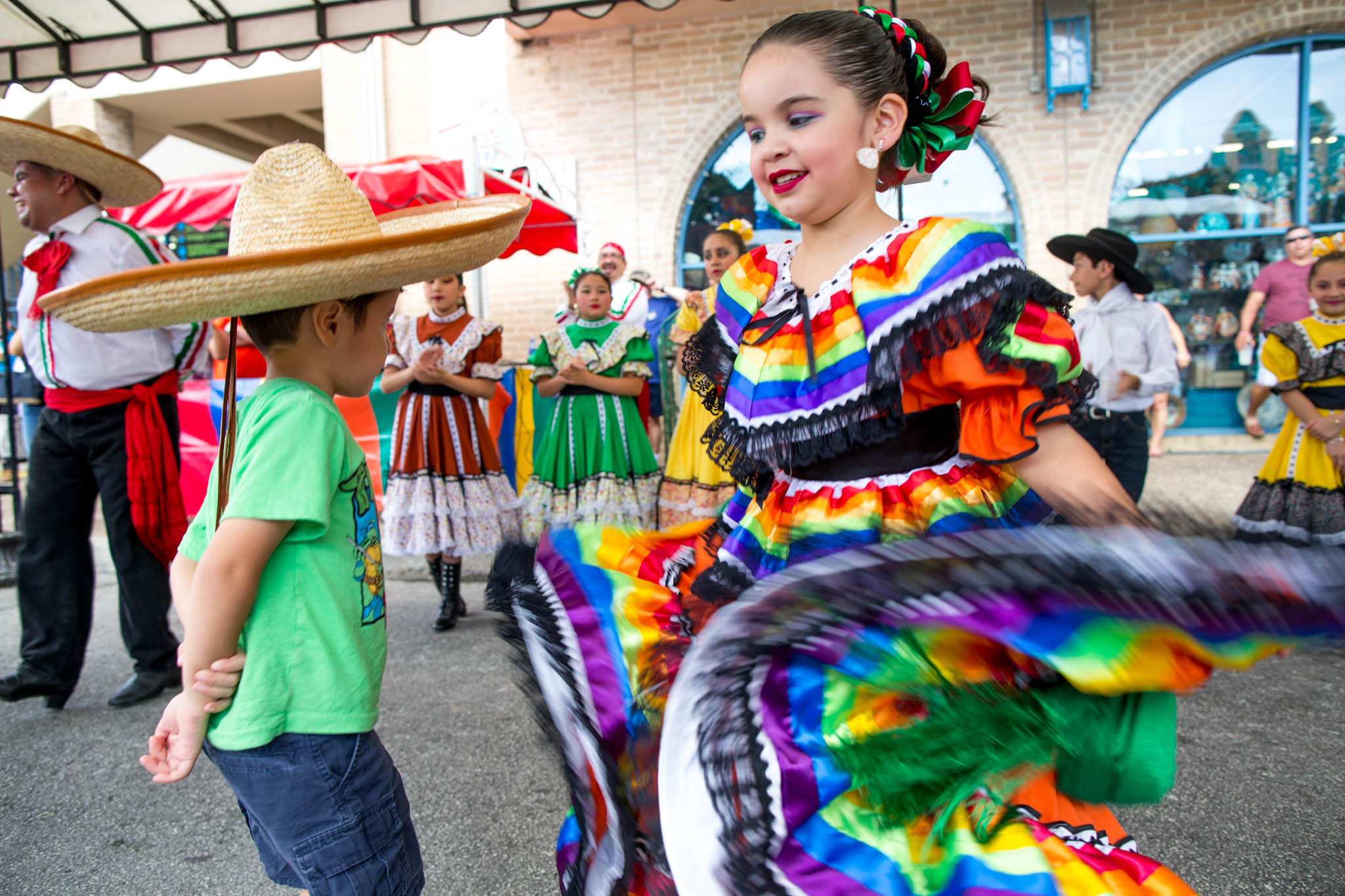 Young Ballet Folkorico dancers perform at Market Square during Family Pride Fair. Photo by Michael Cirlos.