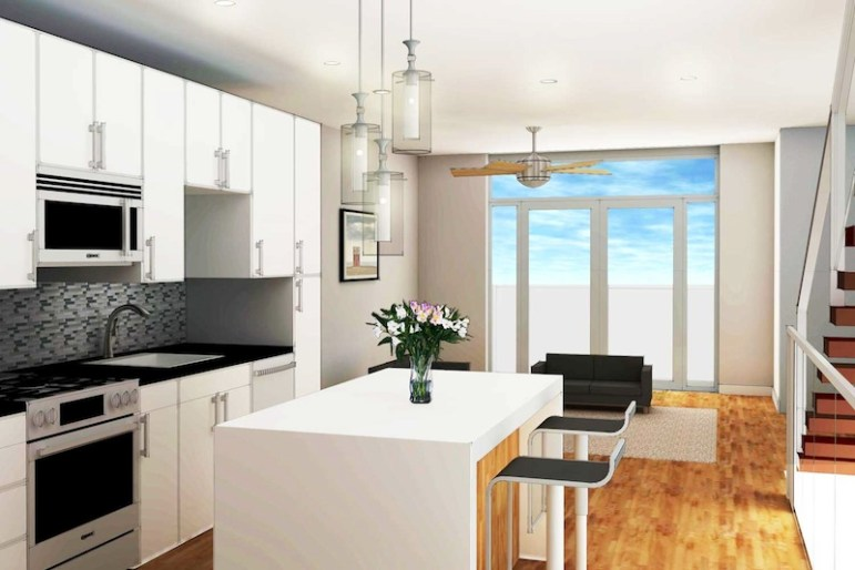 Inside the kitchen of a townhome at 825 East Grayson St. Rendering courtesy of Live 825.