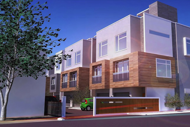 Street level view of the 14-townhome complex at 825 East Grayson St. Rendering courtesy of Live 825.
