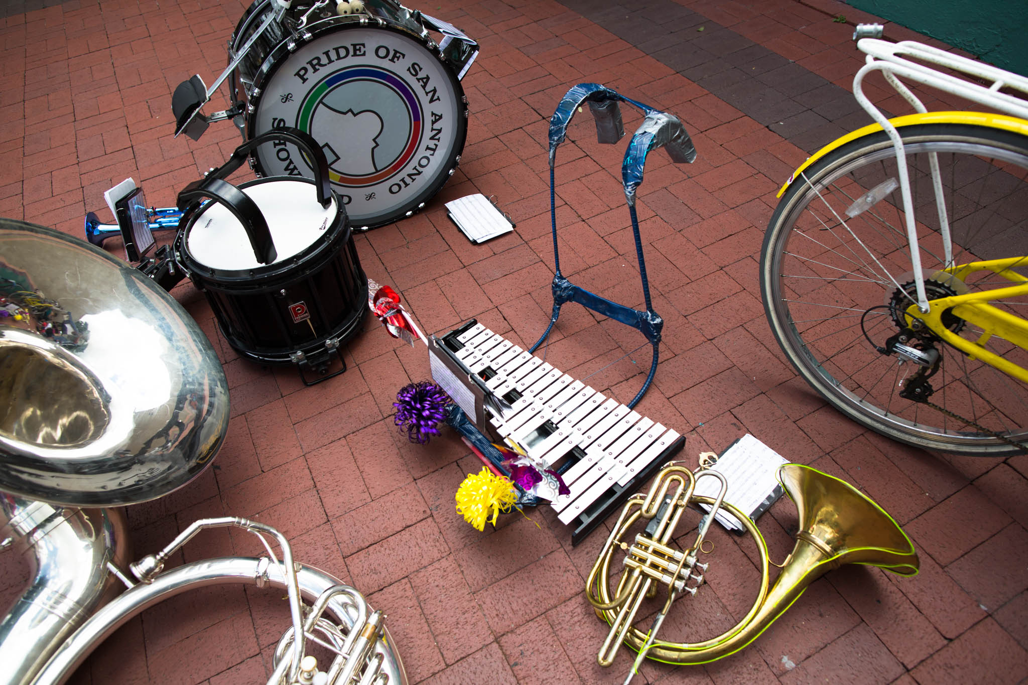 The Pride of San Antonio Showband instruments at intermission. Photo by Michael Cirlos.