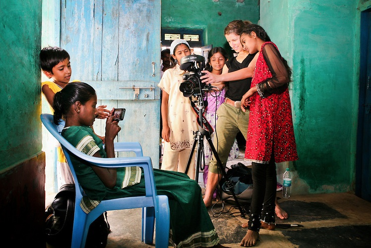 Behind the scenes of Girl Rising in India. Photo by Martha Adams and Gina Nemirofsky, courtesy of 10x10act.org.