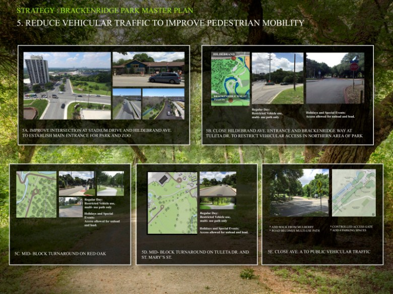Strategy 5: Reduce vehicular traffic to improve pedestrian mobility. Graphics courtesy of San Antonio Parks and Recreation Department.
