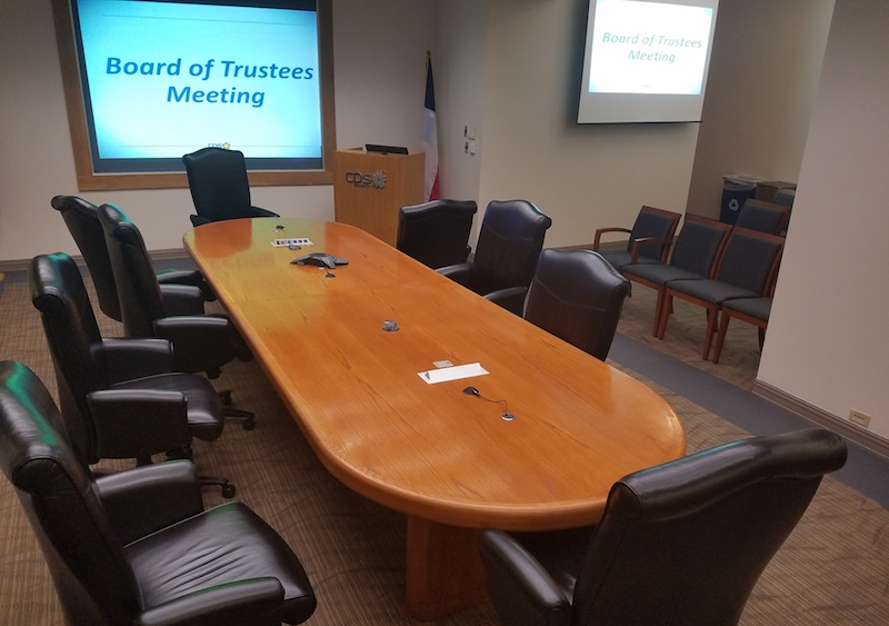 The CPS Energy board room is almost empty, save for a few staffers and reporters on Tuesday afternoon. Photo by Iris Dimmick.