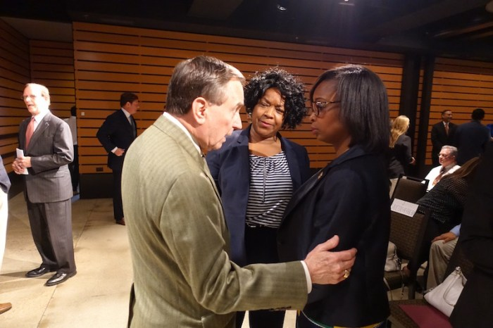 CPS Energy Chairman Ed Kelley confers with CPS Energy Interim CEO Paula Gold-Williams and Mayor Ivy Taylor. Photo by Robert Rivard.