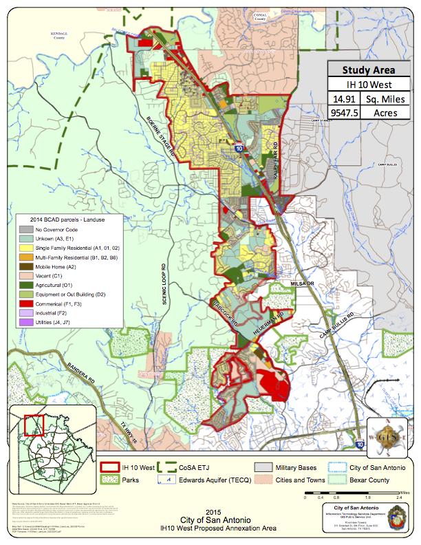 2015 City of San Antonio IH10 West Proposed Annexation Area. Courtesy of City of San Antonio.