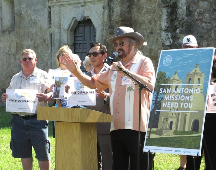 Texas Tornadoes singer Augie Meyers asks San Antonians to #VoteYourPark during a press conference Tuesday morning at Mission Concepción.  Photo by Katie Walsh.