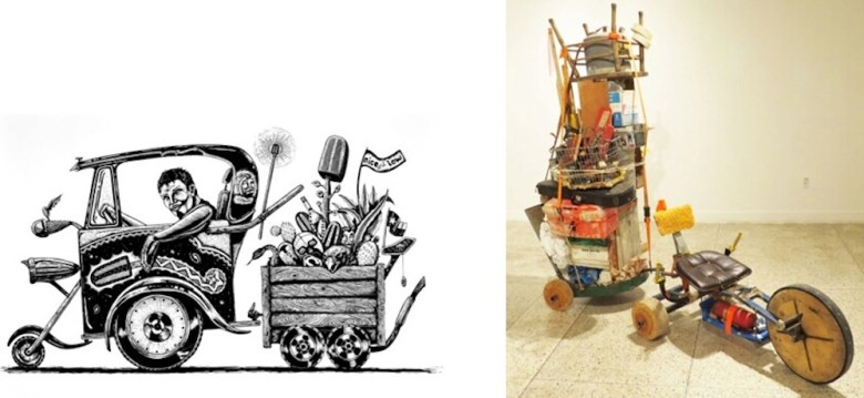 Left: Juan de Dios Mora, I'm Outta Here with My Chivas! (I'm Outta Here with My Belongings!), 2012, linocut, Collection of Victor Guerrero. Right: John Dalton Atkins, We Get What We Can, 2016, mixed media. Photo by David S. Rubin.
