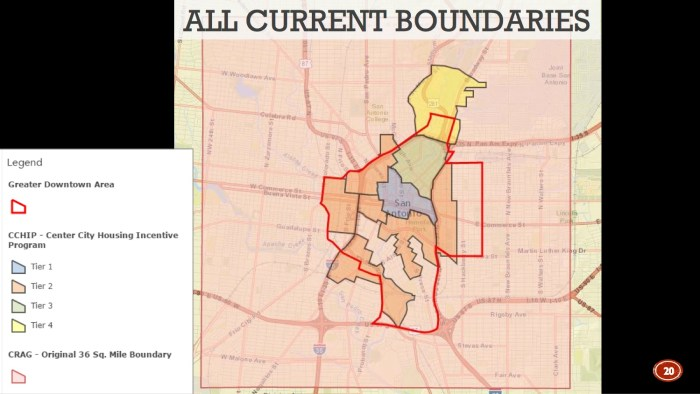 The new CCHIP boundaries (in red) compared to the former incentive tiers (orange, yellow, blue, green). Image courtesy of the City of San Antonio.