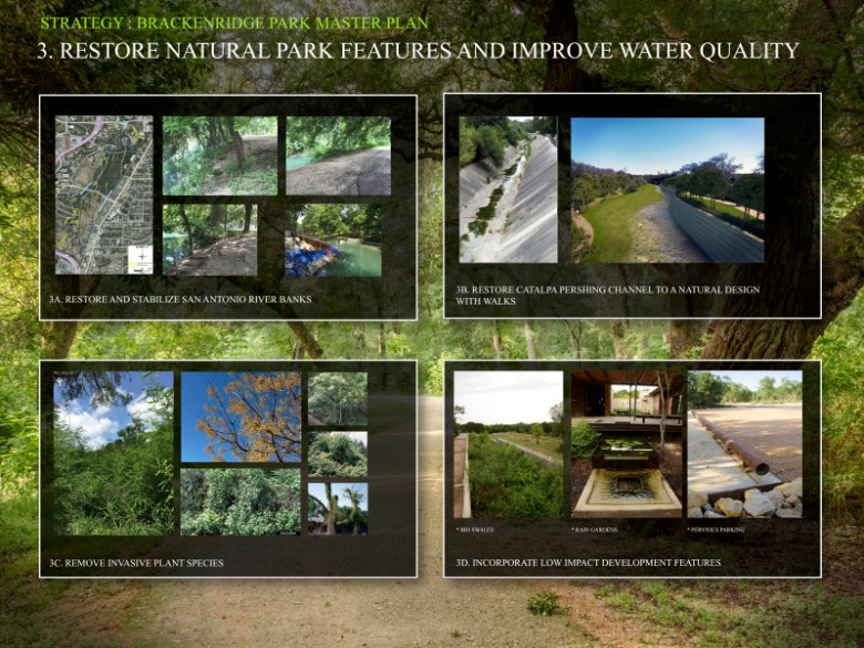 Strategy 3: Restore natural park features and improve water quality. Graphics courtesy of the San Antonio Parks and Recreation Department.