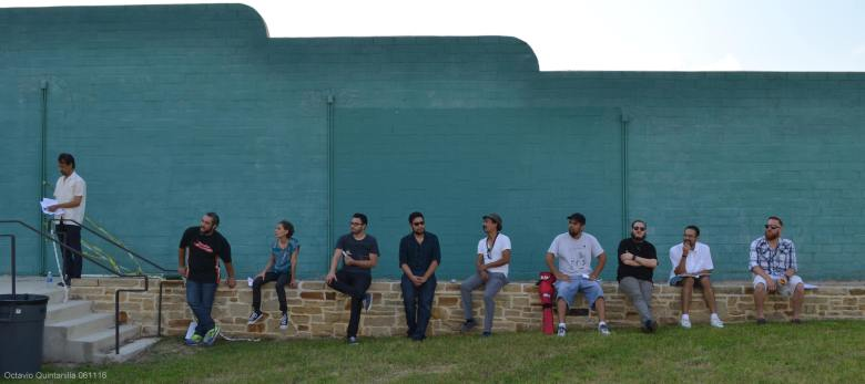 Contestants in the Canto San Anto: Our City in Poetry competition await their turn. Photograph by Octavio Quintanilla.