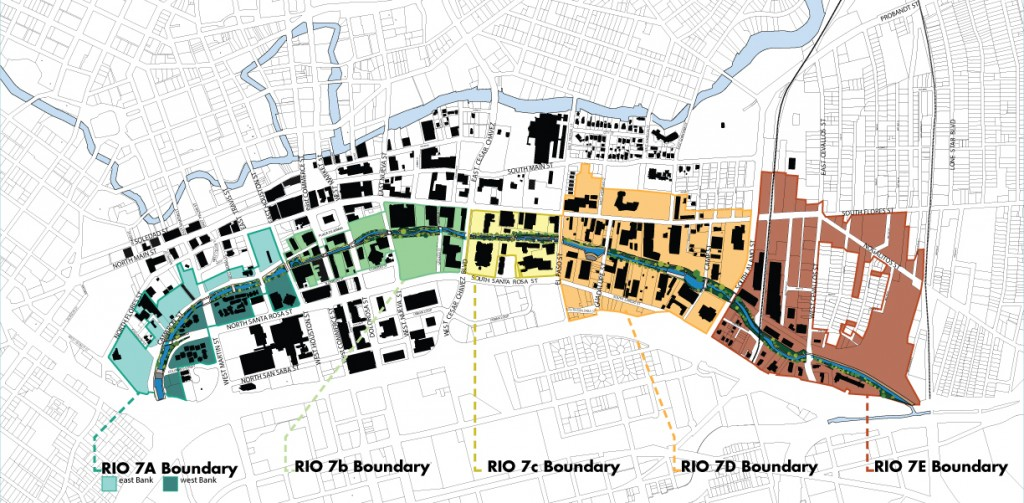 The proposed boundaries of the River Improvement Overlay (RIO) District 7 for San Pedro Creek.