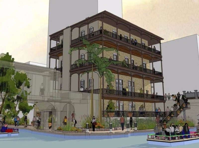 Developer Chris Hill will renovate the Witte building into a multi-level restaurant and retail space with four housing units on top. Rendering courtesy of Lake/Flato.