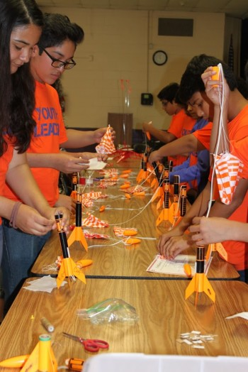 Students learned about aerospace engineering and built rockets that were launched on the last day of the program. Photo courtesy of the San Antonio Youth Leadership Program.