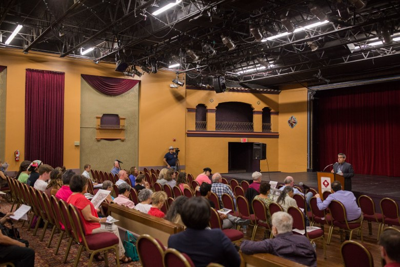 Community members attended the Guadalupe Theater on the city's near Westside to discuss proposed change to Brackenridge Park. Photo by Scott Ball.