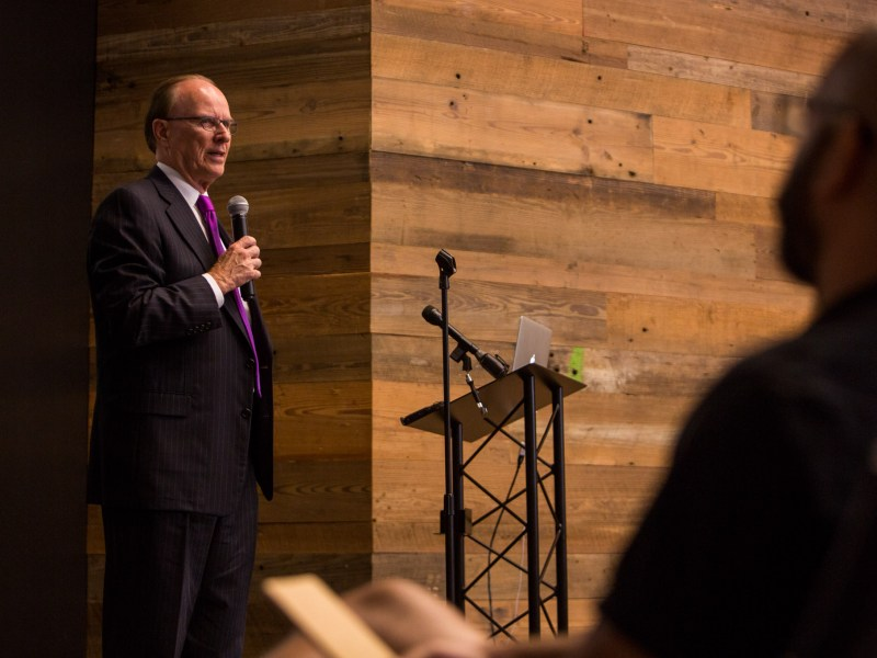 Bexar County Judge Nelson Wolff praises the launch of Build Sec Foundry. Photo by Scott Ball.