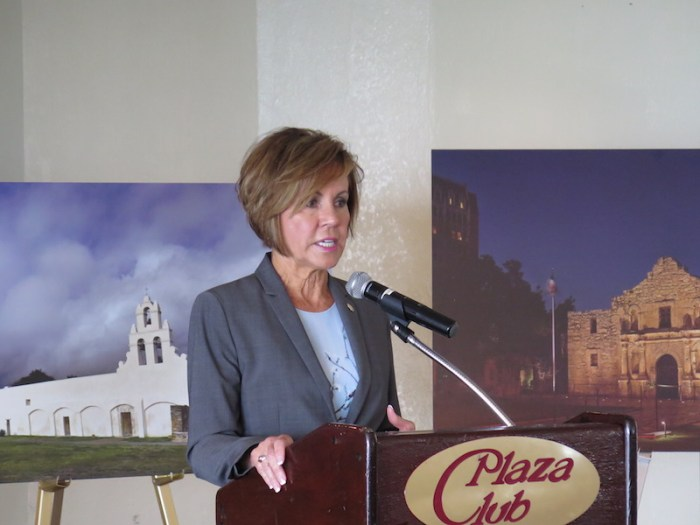 City Manager Sheryl Sculley talks about the success of the Pearsall Park project from the 2012 bond. Photo by Camille Garcia.