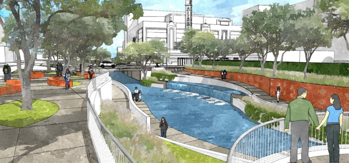San Pedro Creek rendering showing a view looking south from Travis Street. Photo courtesy of the San Antonio River Authority.