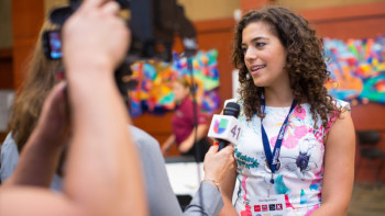 WAF Chief Operating Officer Ingrid Harb interviewing with the media during last year's forum. Photo courtesy of Trinity University
