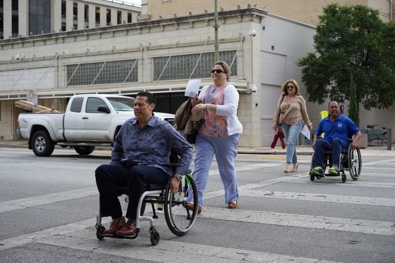 Michael Cortez, Jennifer Duplantis, Lisa Brunsvold and Art Hall crossing Flores Street.  Photo by Larry Servin.