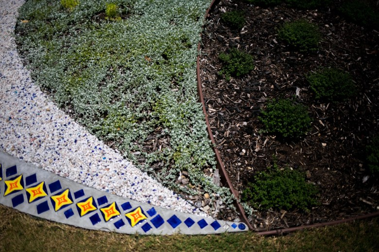 Stones, mosaics, succulents and plants were used in the design of The Moon Garden. Photo by Kathryn Boyd-Batstone.