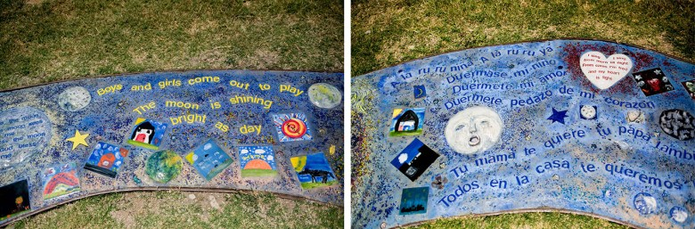 At the San Juan Gardens playground area children's rhymes in English and Spanish line the ground for the Cantos y Juegos art piece. Photo by Kathryn Boyd-Batstone.