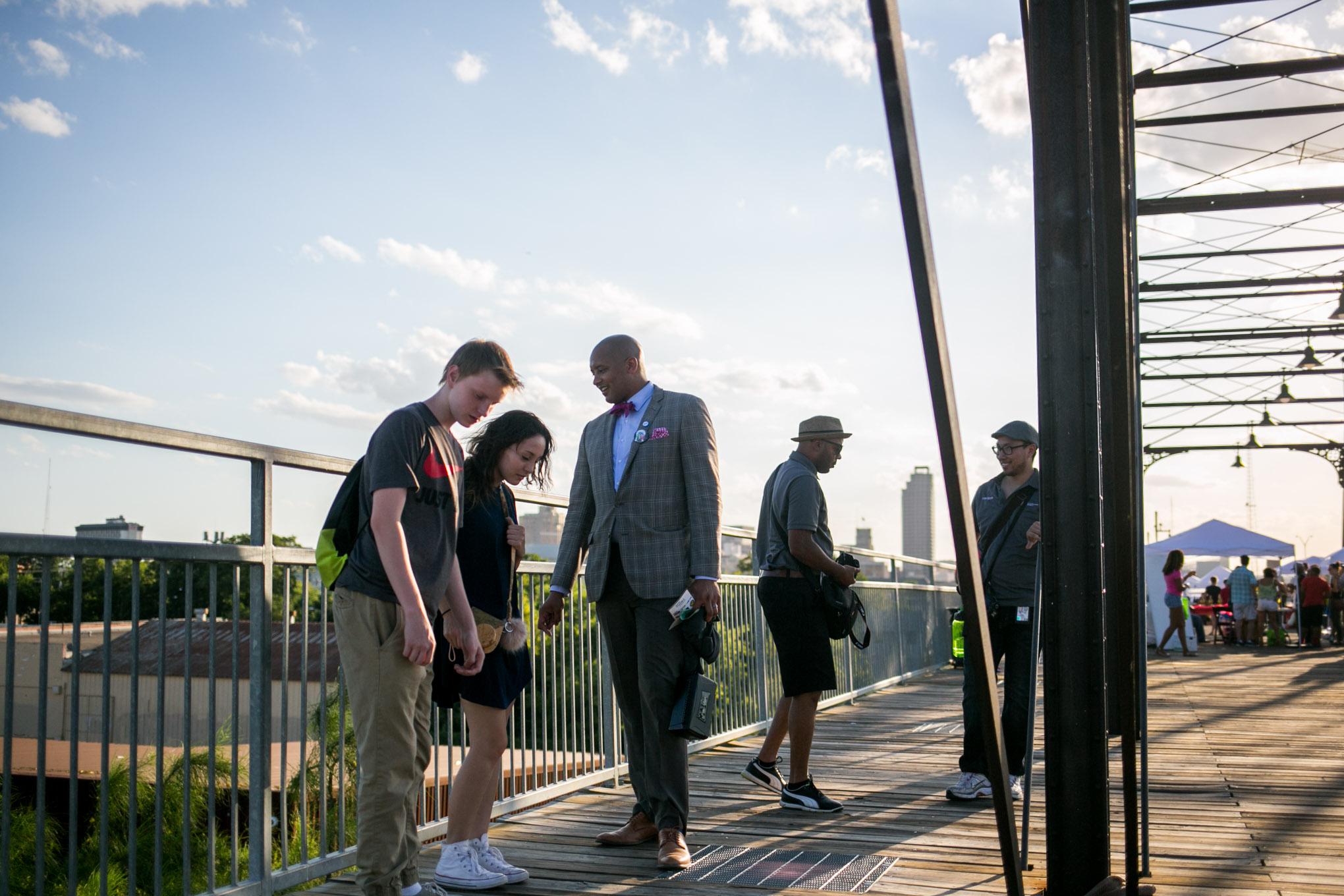 City Councilman Alan Warrick (D2) greets SA Good People Soul Saturday attendees. Photo by Kathryn Boyd-Batstone.