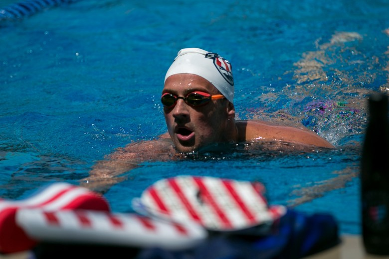 Olympic swimmer Ryan Lochte cools down after a set at the Northside Natatorium. Photo by Kathryn Boyd-Batstone.
