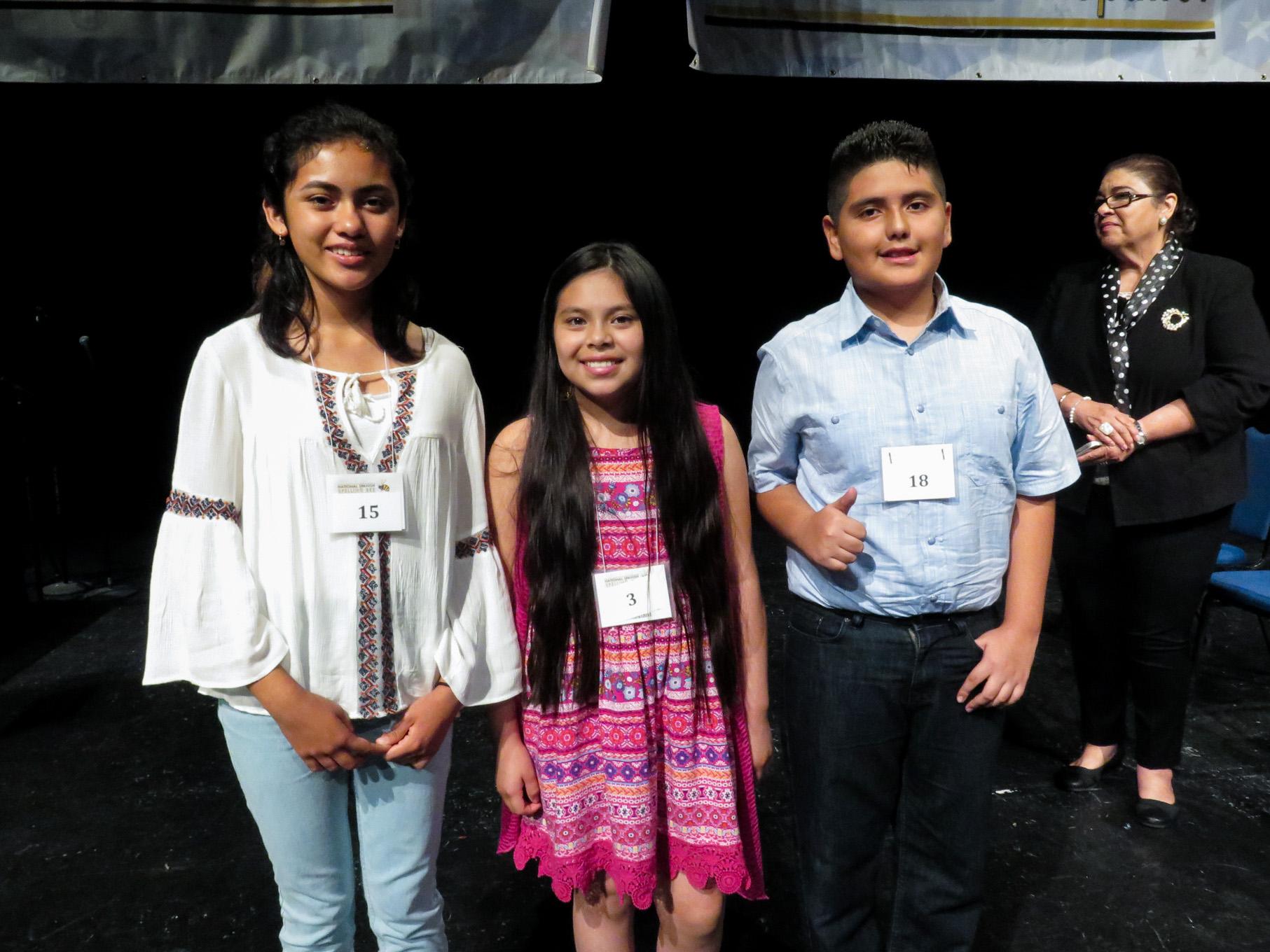 The top three finalists. From Left: Angelique Ibarra, Kiara Rivas Vasquez, and Jybr Reynoso Hidrogo.
