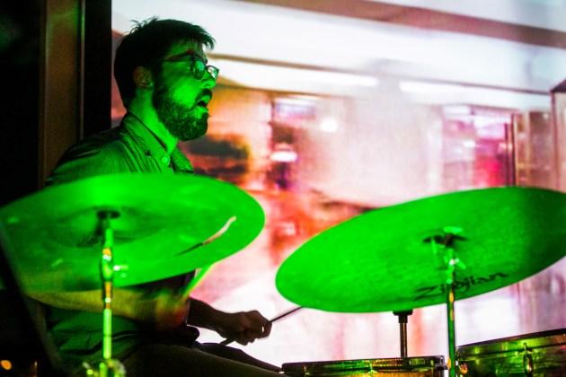 San Antonio drummer Kory Cook performs with Austin-based trumpeter Jeff Lofton. Photo by Kathryn Boyd-Batstone.