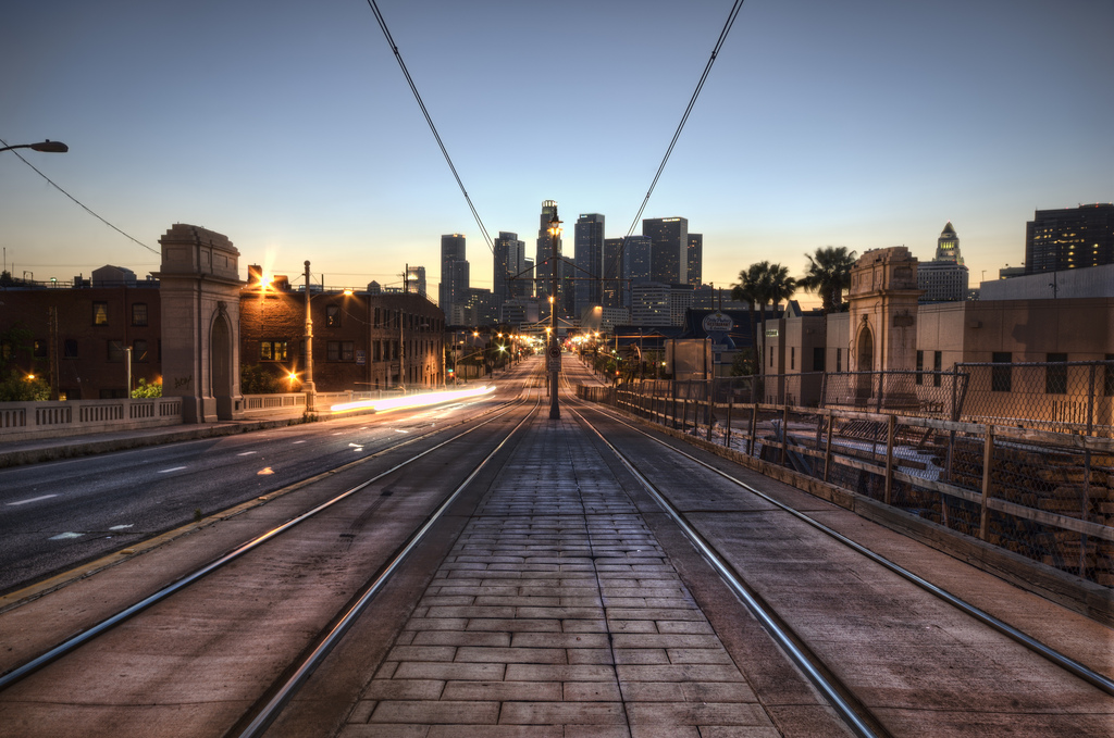 """The Metro train tracks leading to Downtown Los Angeles, Calif. in the """"Skid Row"""" district. Photo by Flickr user Neil Kremer."""
