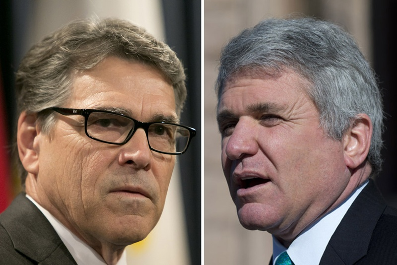 Former Gov. Rick Perry and U.S. Rep. Michael McCaul, (R-Austin). Photos by Marjorie Kamys Cotera and Bob Daemmrich for The Texas Tribune.