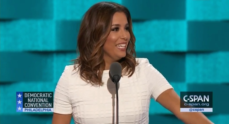 Eva Longoria speaks during the opening night of the 2016 Democratic National Convention on Monday, July 26, 2016. Image courtesy of C-SPAN.