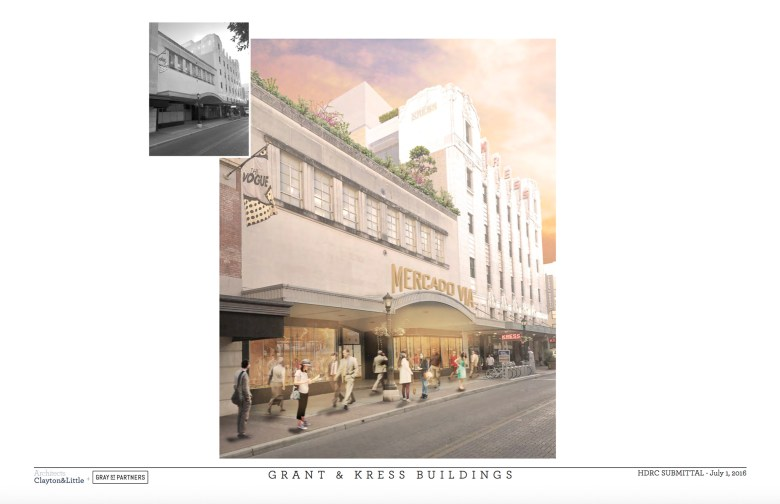 The proposed facades of 'Mercado Via,' currently the Grant & Kress buildings on East Houston Street. Rendering by Clayton & Little Architects courtesy of GrayStreet Partners.