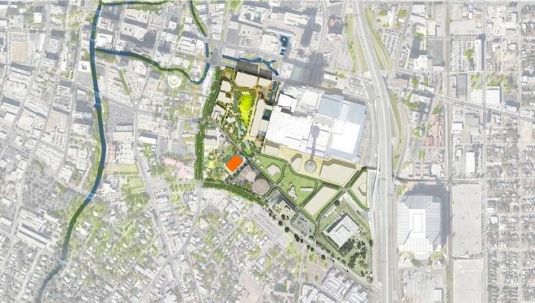 Site map of Hemisfair's Acequia Lofts indicated in orange. Image courtesy of Hemisfair.