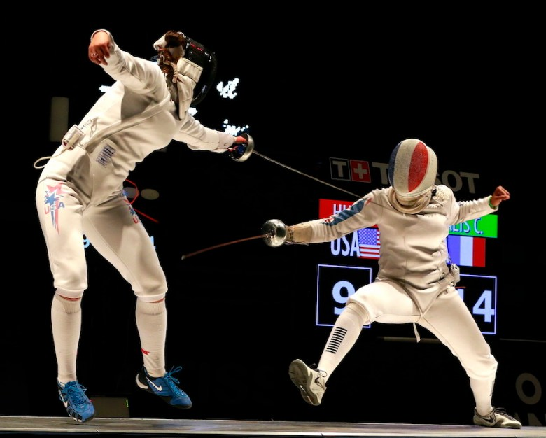 Kelley Hurley (left) moves into position against her opponent, Coraline Vitalis from France. Courtesy photo.