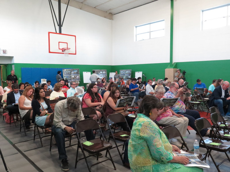 More than 50 people showed up to the Ramirez Community Center as the afternoon progressed to voice their opinions about the master plan. Photo by Rocio Guenther